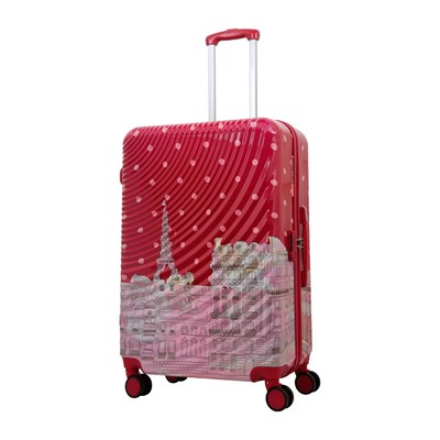 Valise trolley à 8 roues - rouge