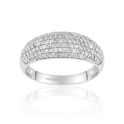 Cleor Bague en or blanc ornée de diamants - blanc