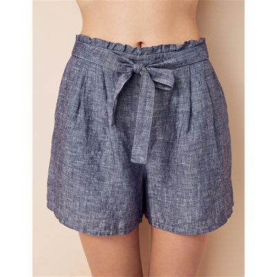 PLAY - Short en lin - bleu