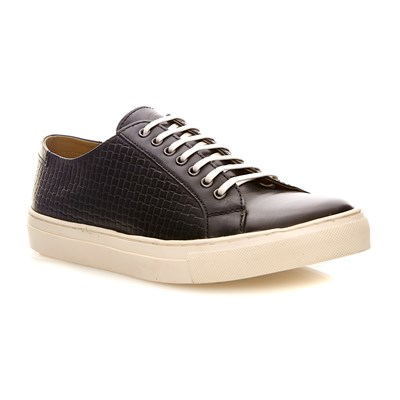Base London freeman weave navy - baskets compensées en cuir - bleu marine