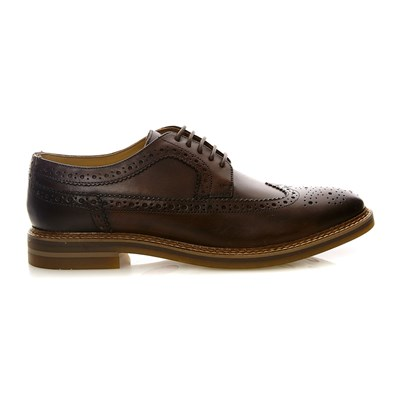 Base London turner washed brown - derbies en cuir - bleu délavé