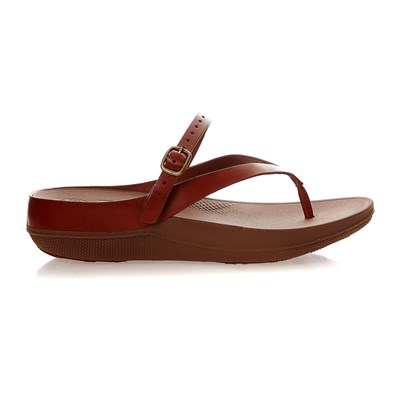 FLIP LEATHER SANDALS - Tongs - camel