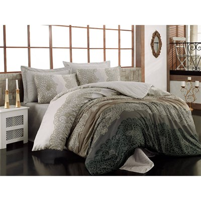 cotton box parure de lit en satin de coton taupe brandalley. Black Bedroom Furniture Sets. Home Design Ideas