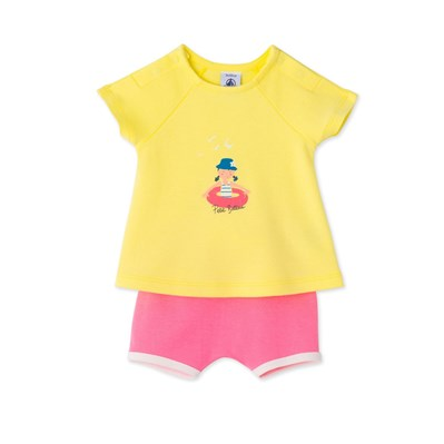 Ensemble bébé fille short et t-shirt - jaune