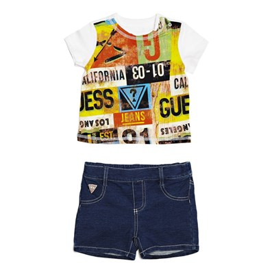 Ensemble t-shirt et short en jean - multicolore