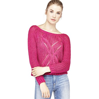 Pull finition ajourée - rose