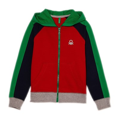 Benetton Sweat zippé à capuche - tricolore
