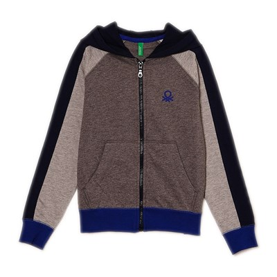 Benetton Sweat zippé à capuche - bicolore