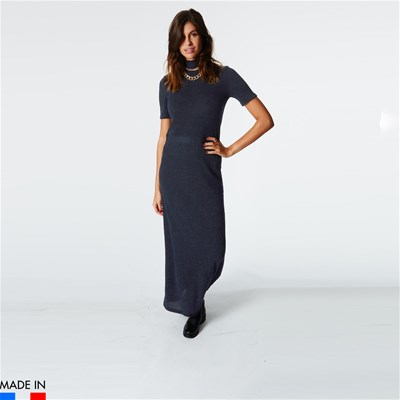 BRANDALLEY LA COLLECTION Ana - Robe longue col roulé - bleu marine