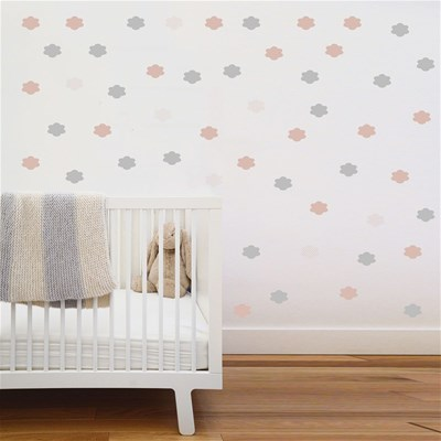 Art For kids stickers nuages roses et argents - rose