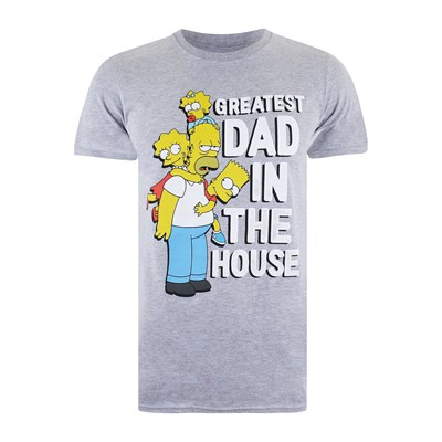 In Chiné Corte House Simpsons Maglietta The A Dad Grigio Greatest Maniche HtvOtqwxS