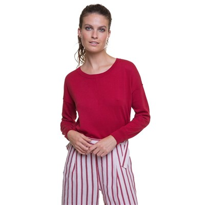 Chemins Blancs Pull oversize - rouge