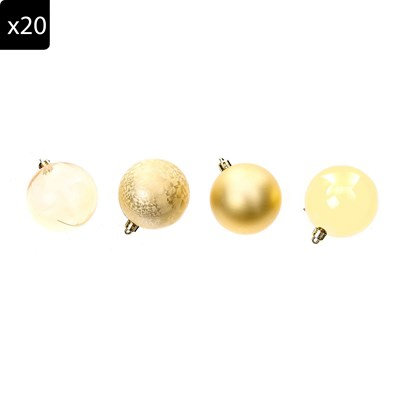 HOME AND STYLING Lot de 20 Boules de Noël - doré