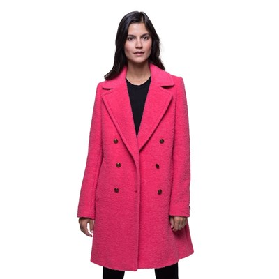 Trench And coat manteau 55% laine vierge bouclée - rose