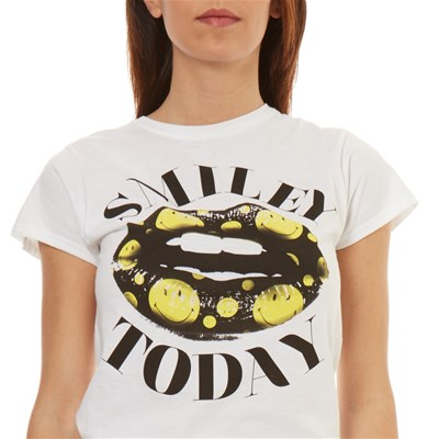 Corta Smiley Manga Smile TodayCamiseta Blanco De ZPkXiu
