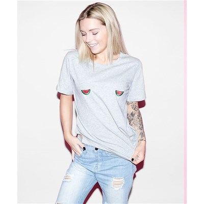 Tits Coton T shirt Past Femme En Up Bio aSaq4