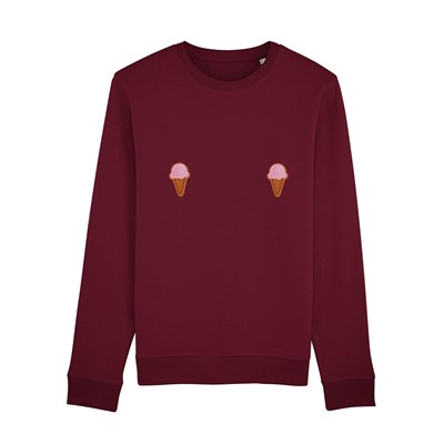 Bordeaux Glace Femme Coton Sweat Bio shirt Cornet Up Tits En De SnvpxzH