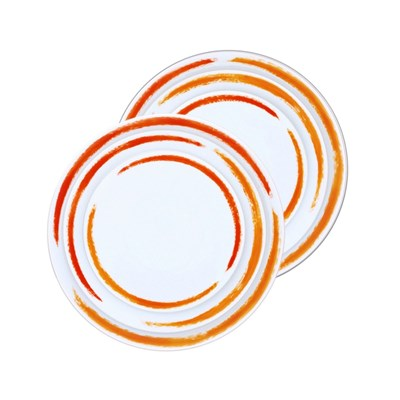 Site Corot artwork - 2 sets de 3 assiettes en porcelaine de limoges - orange