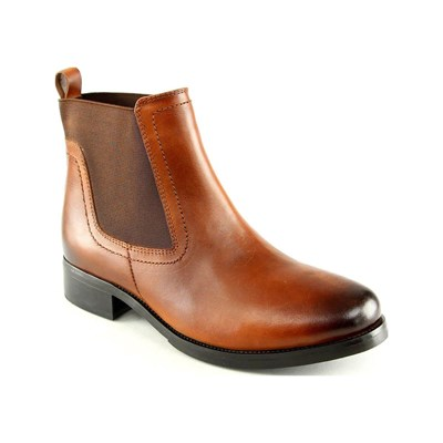 MANOUKIAN Eva - Bottines en cuir - marron clair