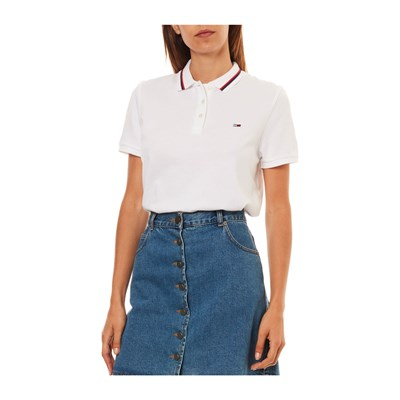 Courtes Tommy Polo Manches Jeans Blanc OwCw4q