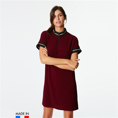 BRANDALLEY LA COLLECTION Riya - Robe polo à liserets contrastants - rouge