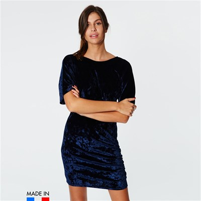 BRANDALLEY LA COLLECTION Winona - Robe courte fluide aspect velours - bleu marine