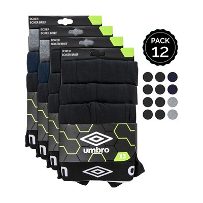 UMBRO Lot de 12 boxers en coton - multicolore