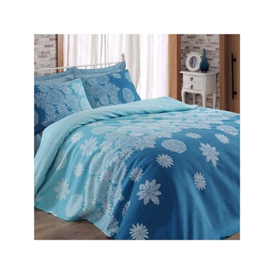 Eponj Home simay - couvre-lit - turquoise, bleu, blanc
