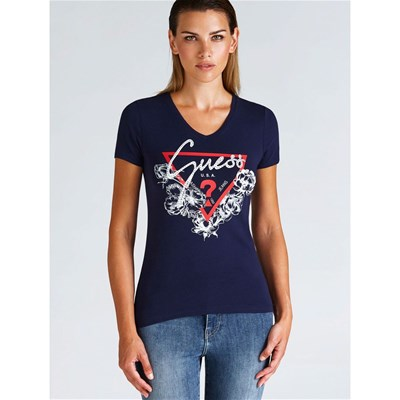 Guess shirt Triangle Logo Bleu T ZqCZwf