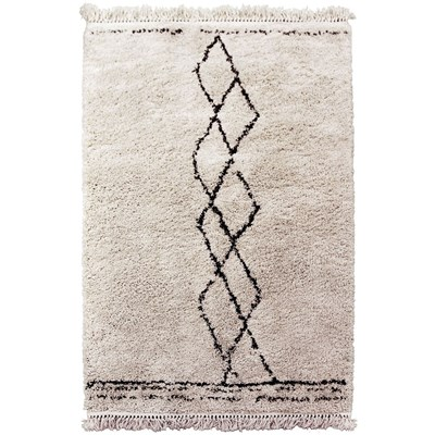 Art For kids fez - tapis shaggy avec franges - beige