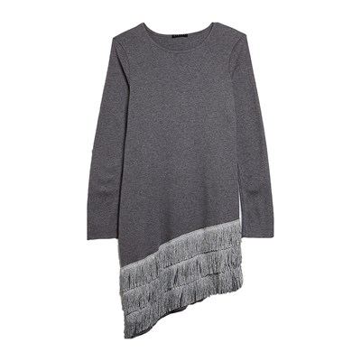 Benetton Robe à franges paillettées - gris