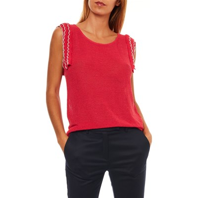 KOOKAI Pull manches crochets 70% lin - rouge