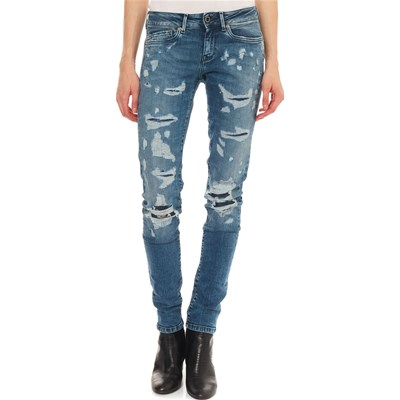 Pixie Skinny Jeans Pepe Trashed Blu London w0xFEBqY
