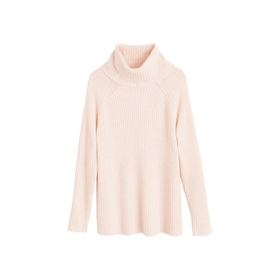 MANGO Pull-over polyester recyclé côtelé - rose clair