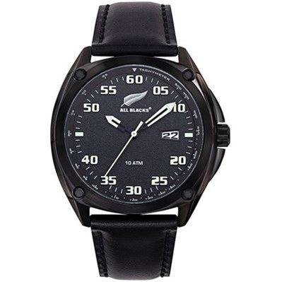 All Blacks montre avec bracelet en cuir - noir