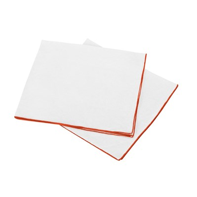Blanc Cerise autour du lin - lot de 2 serviettes de table en lin - blanc et orange