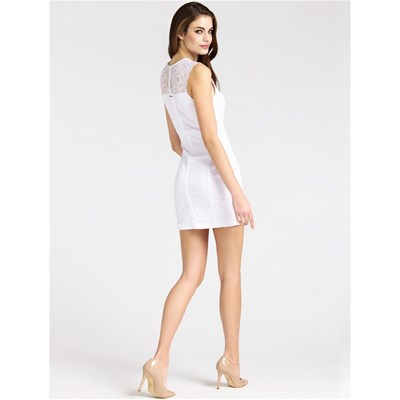 GUESS Robe en dentelle avec application corset - blanc