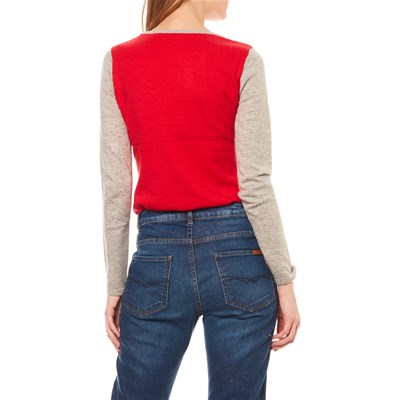 MODE EN DIRECT Pull - col rond rouge et gris