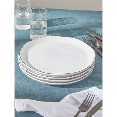 Cyrillus Lot de 4 assiettes - blanc