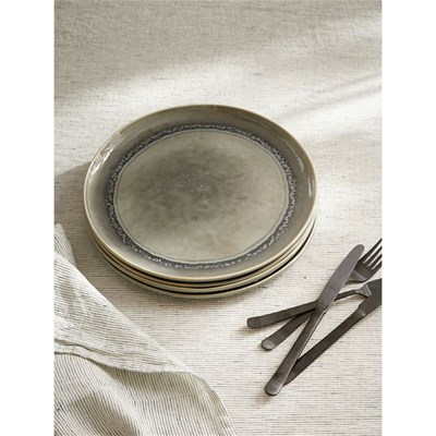Cyrillus Lot de 4 assiettes - gris