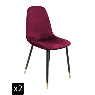 Home Deco art lot de 2 chaises en velours - rouge