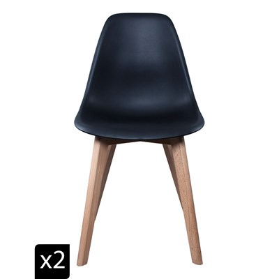 Home Deco art lot de 2 chaises scandinaves - noir