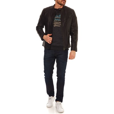 London Giacca In Pepe Pelle Nero Damascus Jeans 1UTxHx