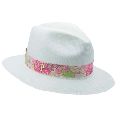 PANAMES & CO Chapeau panama en paille avec ruban interchangeable - rose