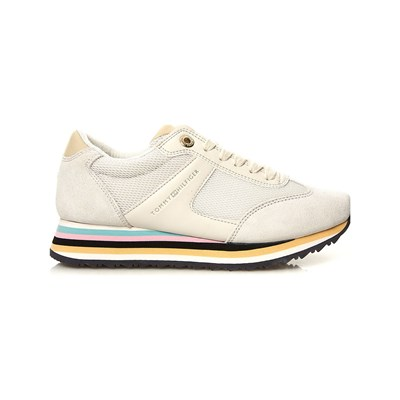 TOMMY HILFIGER Lage leren sneakers - wit