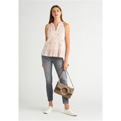 KOOKAI Top avec broderie anglaise - rose