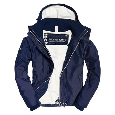SUPERDRY Tech hood pop zip - Blouson - bleu