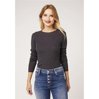 KOOKAI Pull chaussette col rond 51 % laine - anthracite
