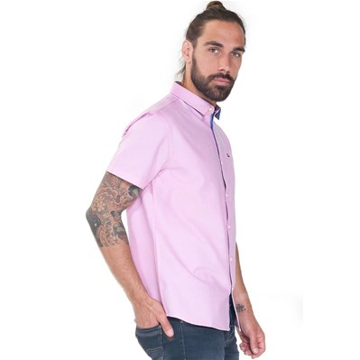 FRENCH DENIM Chemise manches courtes oxford - rose