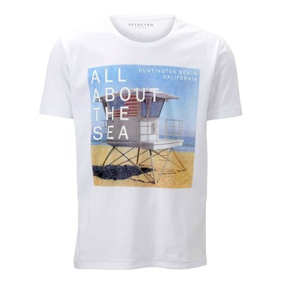 SELECTED Huntington - T-shirt manches courtes - blanc